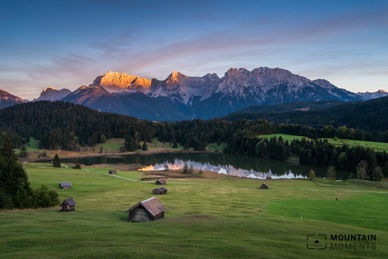 geroldsee, wagenbrüchsee, fotospot bayern, fotospot deutschland, landschaftsfotografie, Sunset, sonnenuntergang karwendel, sonnenuntergang bayern, postkartenmotiv bayern