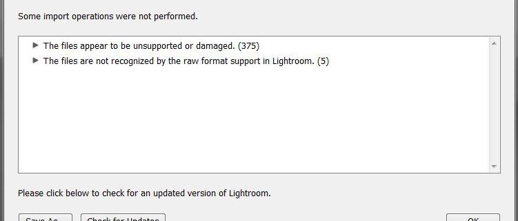 Fehlermeldung: Lightroom erkennt dein Raw Format nicht!, lightzroom raw format unterstützung